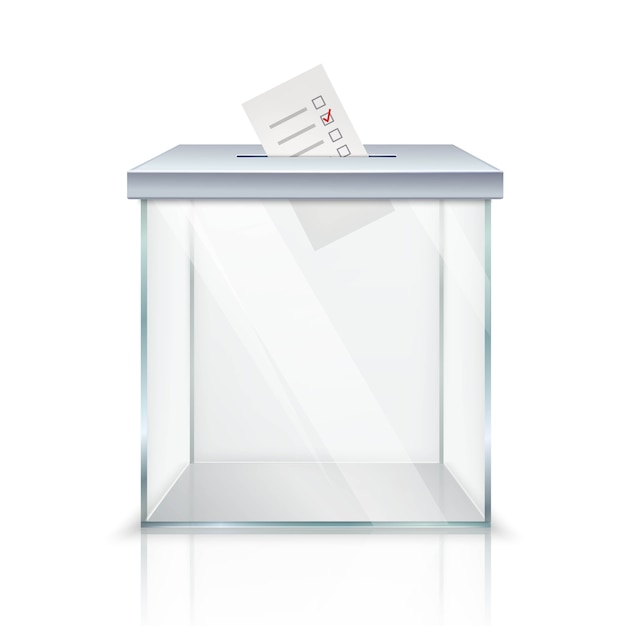 Realistic empty transparent ballot box with marked ballot in hole Free Vector