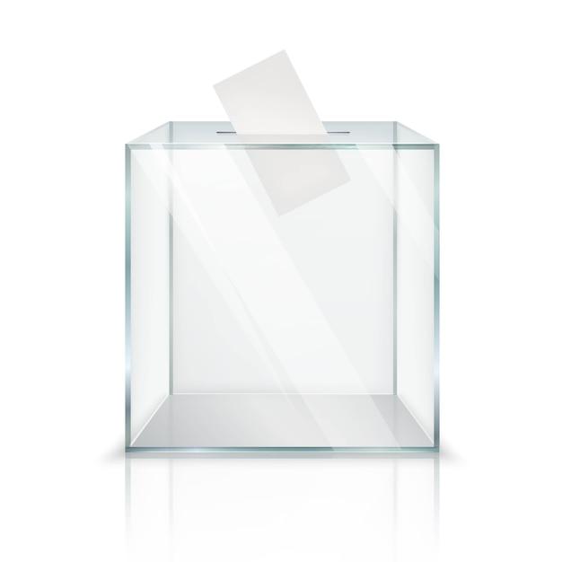 Realistic empty transparent ballot box Free Vector