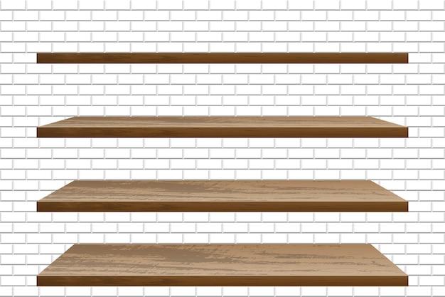 Реалистичная пустая деревянная полка на кирпичной стене Premium векторы