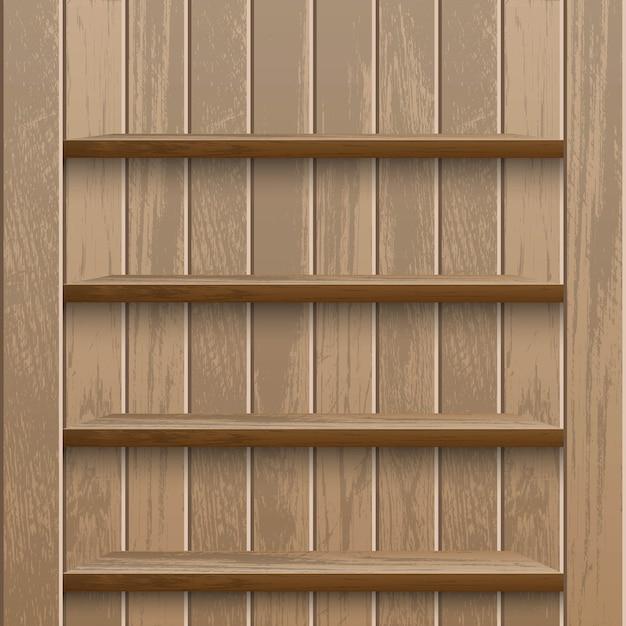 Реалистичная пустая деревянная полка на деревянной стене метаданных Premium векторы
