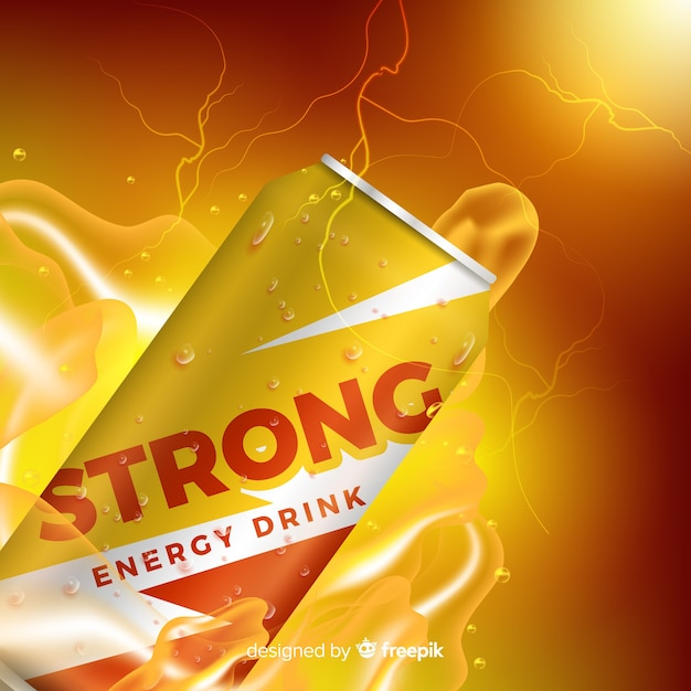 Realistic energy drink ad template Free Vector