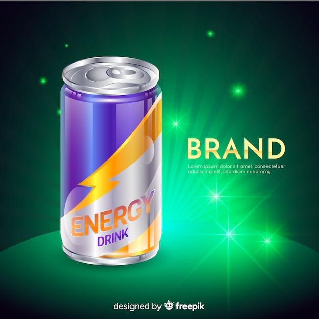 Realistic energy drink advertisement Free Vector