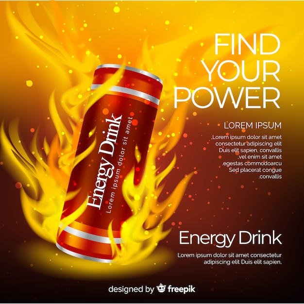 Realistic energy drink advertisement Free Vector
