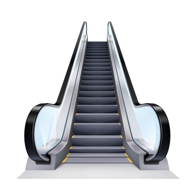 Realistic escalator illustration Free Vector