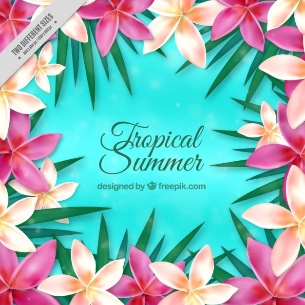 Realistic exotic flowers background