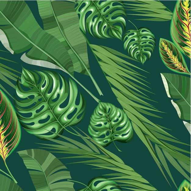 Реалистичный экзотический тропический цветочный узор Бесплатные векторы