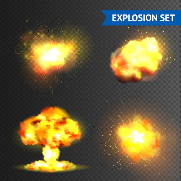 Realistic explosions set Free Vector