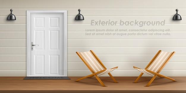 Realistic exterior background with veranda facade. Free Vector