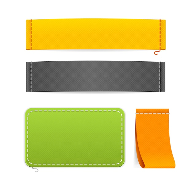현실적인 패브릭 의류 레이블을 설정합니다. 디자인을위한 다양한 크기와 색상 준비. 프리미엄 벡터