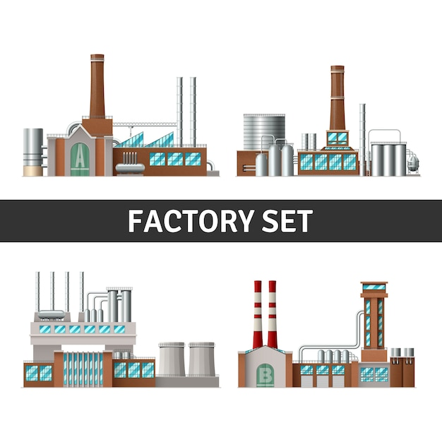 Realistic factory building set with chimneys windows and power Free Vector