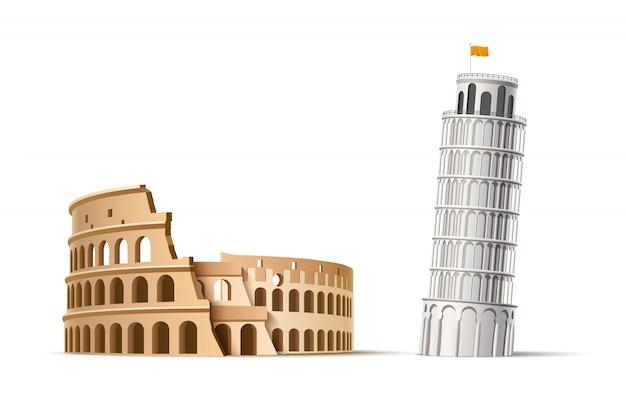 Реалистичная знаменитая итальянская достопримечательность пизанская башня и колизей Premium векторы