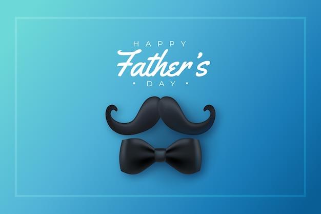 現実的な父の日の口ひげと蝶ネクタイ 無料ベクター