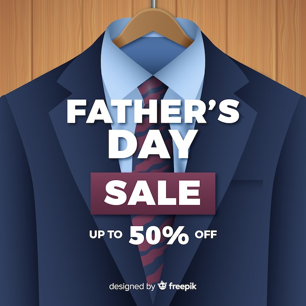 Realistic father's day sales background Free Vector