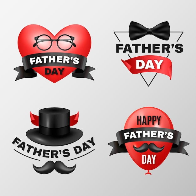 Collezione di badge realistici per la festa del papà Vettore gratuito