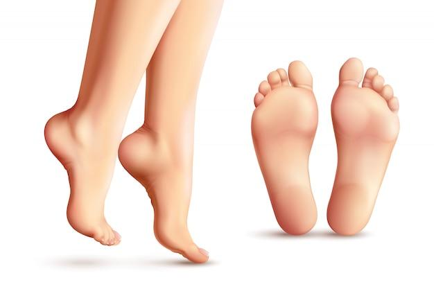 Realistic female feet set Free Vector