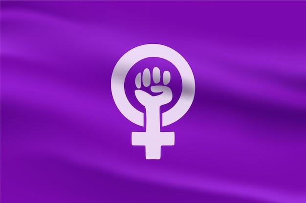 Реалистичная иллюстрация феминистского флага Бесплатные векторы