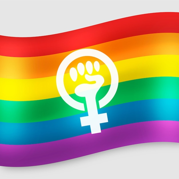 Realistic feminist flag with rainbow colors Free Vector