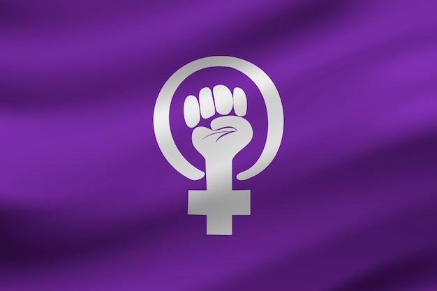 Realistic feminist flag Free Vector
