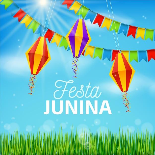 Реалистичная концепция festa junina Бесплатные векторы