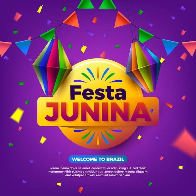 Realistic festa junina illustration with event name Premium Vector