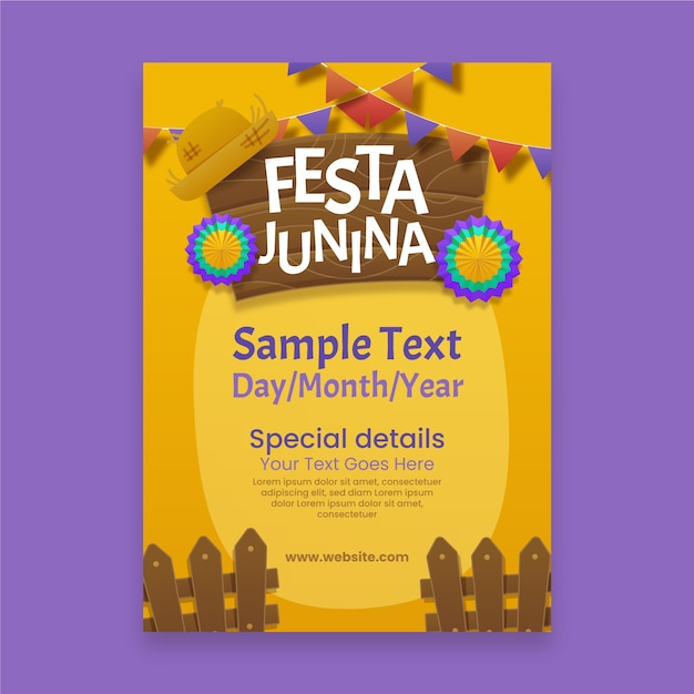 Realistic festa junina poster with flowers Free Vector