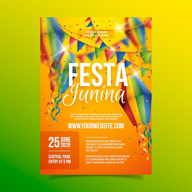 Realistic festa junina poster with garlands Free Vector