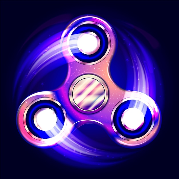 Realistic fidget spinner. stress relieving toy. trendy hand spinning machine. violet shimmering cosmic style. Premium Vector