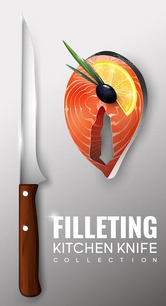 現実的なフィレキッチンナイフのコンセプト 無料ベクター