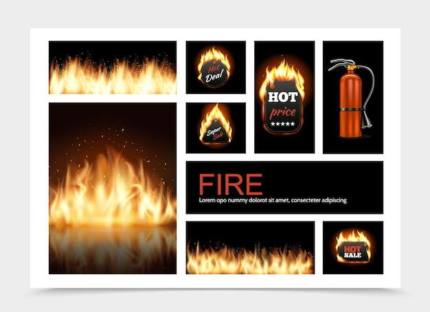 Realistic fire composition with hot fiery sale emblems flame blaze and fire extinguisher illustration Free Vector