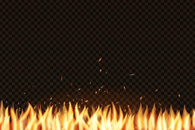Реалистичный эффект огня для украшения и укрытия на прозрачном фоне. понятие о блестках, пламени и света. Premium векторы