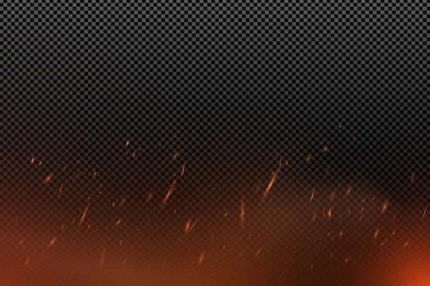 Реалистичный эффект огня с частицами на прозрачном темном фоне. пламя искрится. Premium векторы