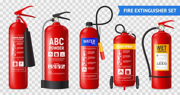 Realistic fire extinguisher set with isolated portable fire-fighting units of different shape on transparent background  illustration Free Vector
