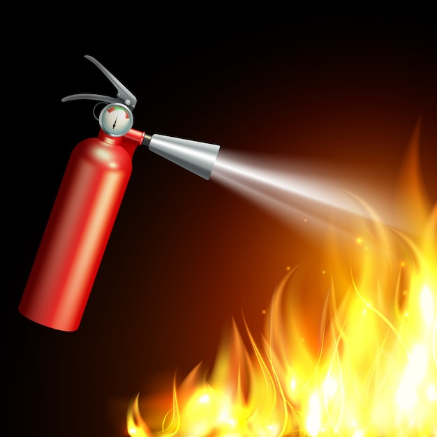 Realistic fire extinguisher with flame on dark background Free Vector
