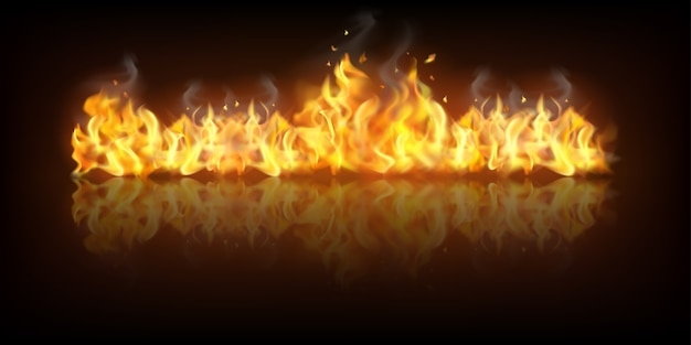 Realistic fire flame banner Free Vector