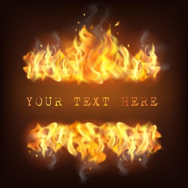 Реалистичная иллюстрация пламени огня Бесплатные векторы