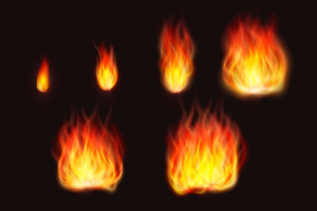 Realistic fire flames on black background Free Vector