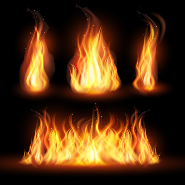 Realistic fire flames concept Free Vector