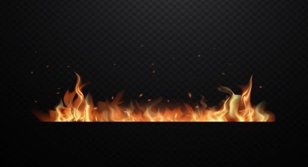 Realistic fire flames on transparent black background. flat design   illustration Premium Vector