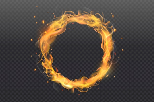 Realistic fire ring with transparent background Premium Vector