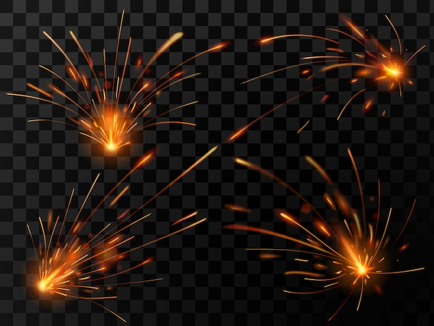 Realistic fire sparks. spark flow of steel welding or metal cutting work set Premium Vector