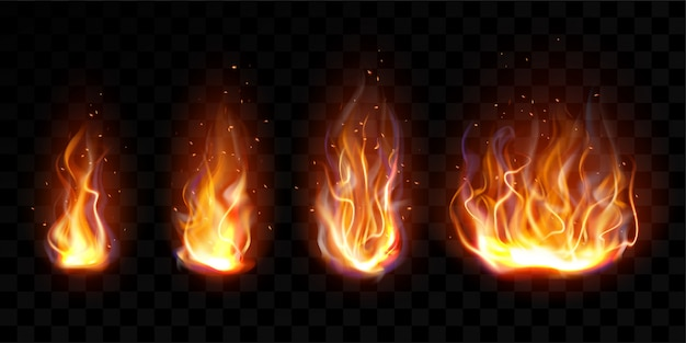 Realistic fire, torch flame set isolated clip art Free Vector