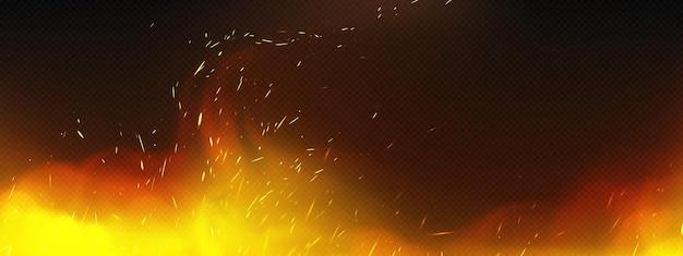 煙と溶接火花を伴うリアルな火 無料ベクター