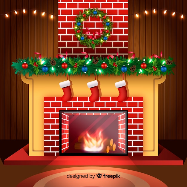 Fireplace Christmas.Realistic Fireplace Christmas Background Vector Free Download