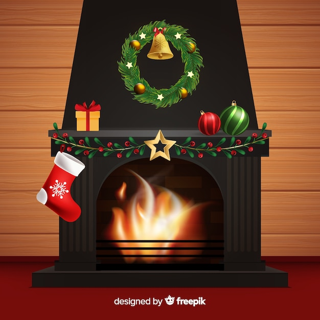 Realistic fireplace scene background Free Vector