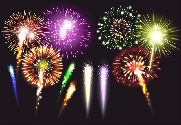 Realistic fireworks icon set in different sizes shapes and colors illuminated and bright  illustration Free Vector
