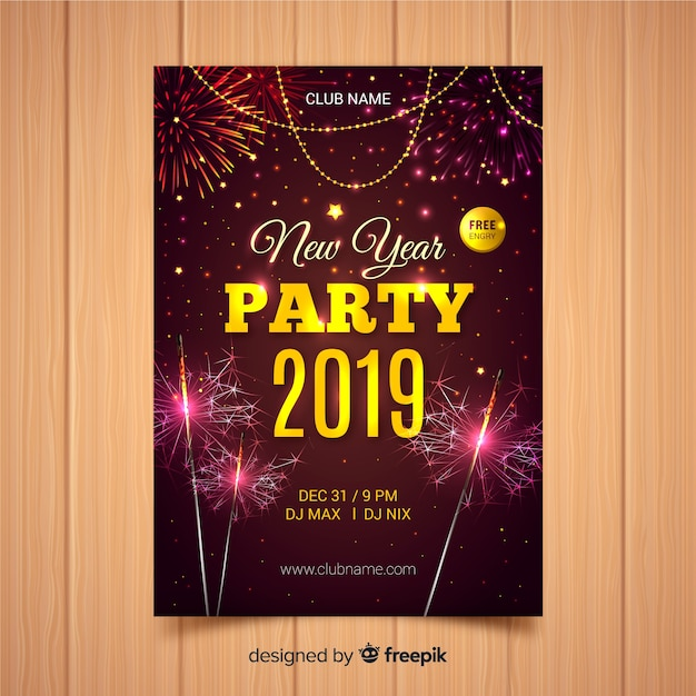 realistic fireworks new year poster template free vector