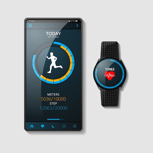 Realistic fitness trackers concept Free Vector