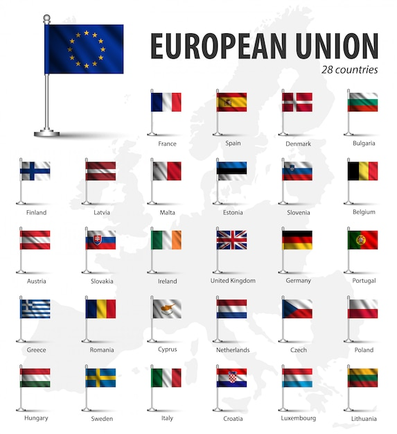 Realistic flag of european union ( eu ) and membership with flagpole on europe map backgro Premium Vector