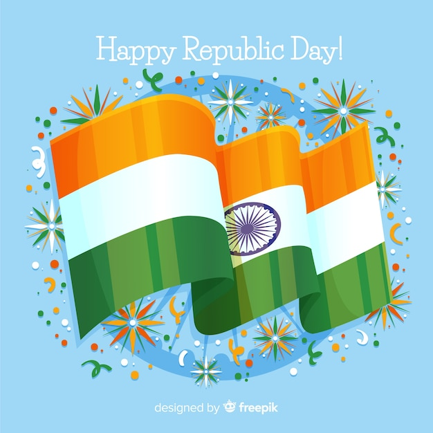 Realistic flag india independence day background Free Vector