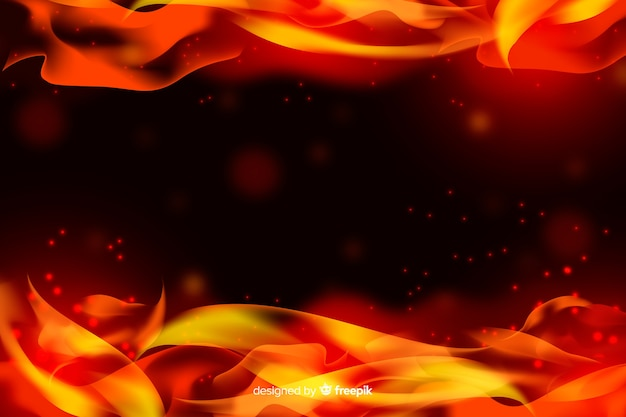 Realistic flames frame background Free Vector
